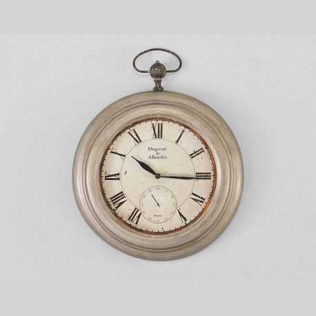 "Round zinc metal clock decor ""Delicious Coffee have a cup"". Diameter 40 cm"