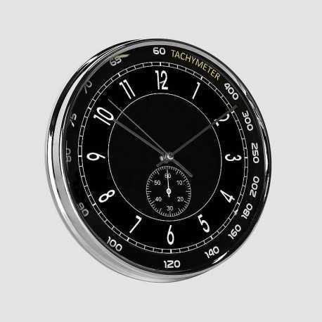 Horloge ronde tachymètre noir 28 cm