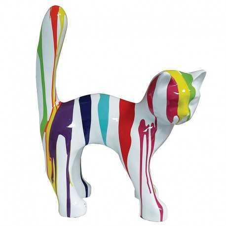 Statue de chat multicolore