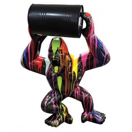 Statue gorille king-kong multicolore avec baril