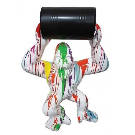 Multicolored king-kong gorilla statue white background with barrel