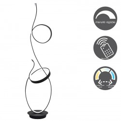 Black double loop led floor lamp