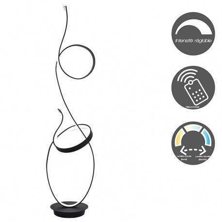 Black double loop led floor lamp