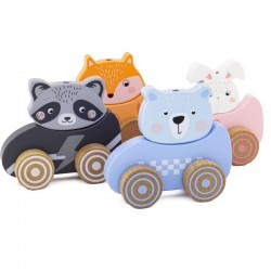 Set of 4 wooden animal cars