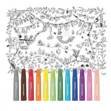 Nappe à colorier pour enfants. La Forêt enchantée