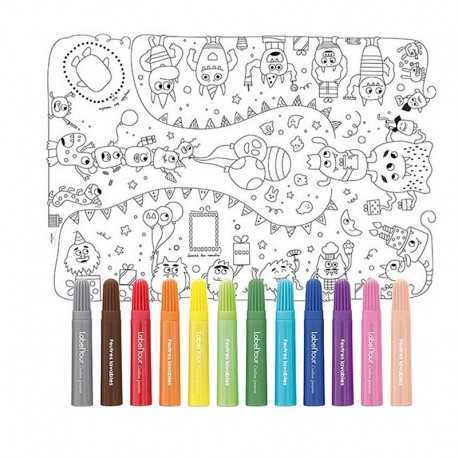 Tablecloth for coloring for children. The little monsters party