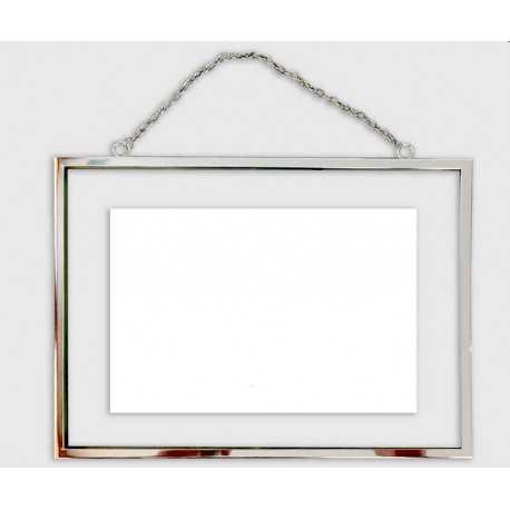 Cadre photo entre deux verres avec chainette