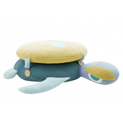 Baby cushion, large blue turtle model