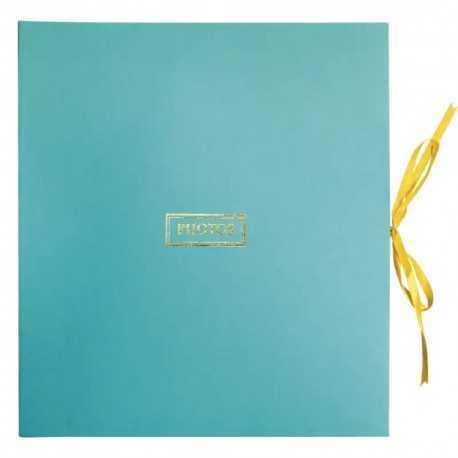 Album photo bleu artisanal en papier de coton