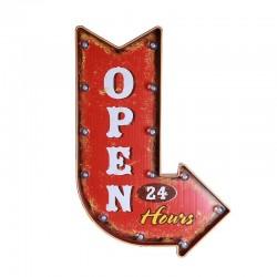 Flèche lumineuse vintage américaine à led : Open 24 hours