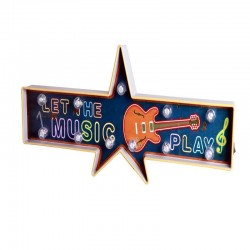 Etoile guitare lumineuse vintage américaine à led : let the music play