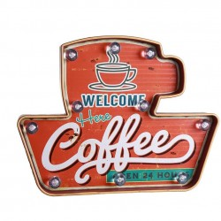 American vintage led illuminated sign: Welcome here Coffees