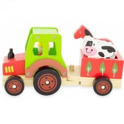 Tracteur en bois et sa remorque , jouet enfant