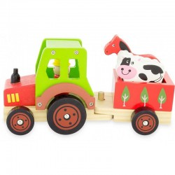 Wooden tractor and its trailer, children's toy