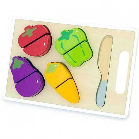 Children's cutting board with vegetables