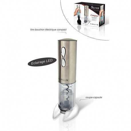 Electric corkscrew with bottle opener and charger.
