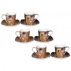 Ensemble 6 tasses à café G. Klimt le baiser