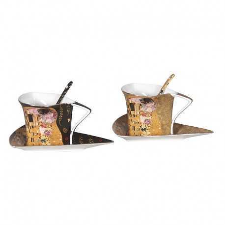 Ensemble 2 tasses triangles à café G. Klimt le baiser