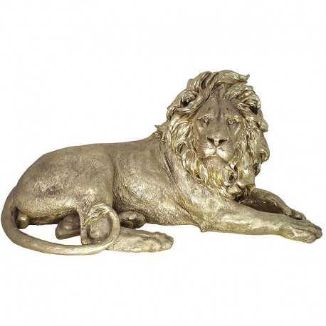 Sculpture, majestic lion gold color large model