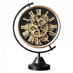Horloge sur pied mappemonde couleur dorée à engrenages visibles
