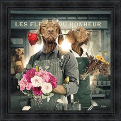 Tableau Chiens fleuristes par Sylvain Binet