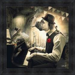 Tableau Chien Piano par Sylvain Binet