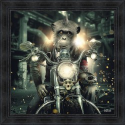 Gorilla on Motorcycle painting by Sylvain Binet