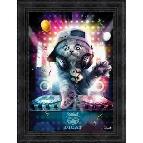 DJ Cat painting by Sylvain Binet