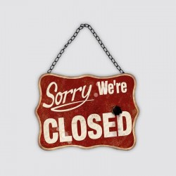 "Plaque métal vintage ""Sorry we're closed"""