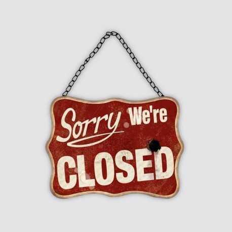 """Plaque métal vintage """"Sorry we're closed"""""""