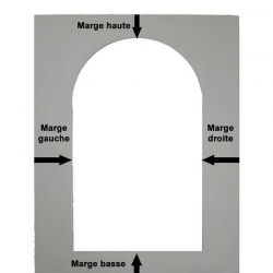 Crescent mat with rounded top rectangle opening