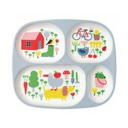 Baby tray with 4 compartments, countryside decor