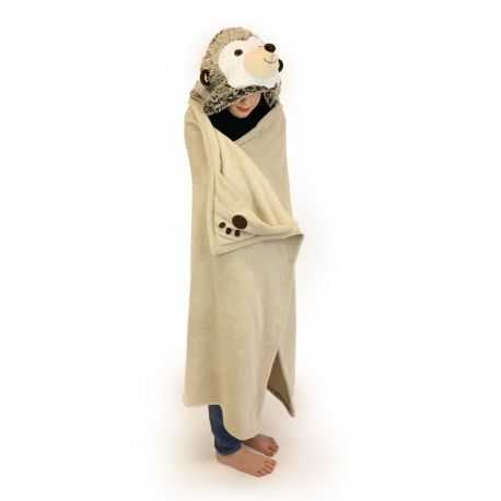 Hooded blanket with animal head