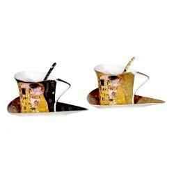Ensemble 2 tasses triangulaires G. Klimt le baiser