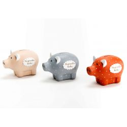 Piggy bank pig in ceramic