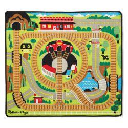 Tapis de jeu pour enfant, les trains en bois