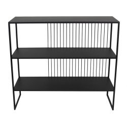 Wired black metal shelving unit